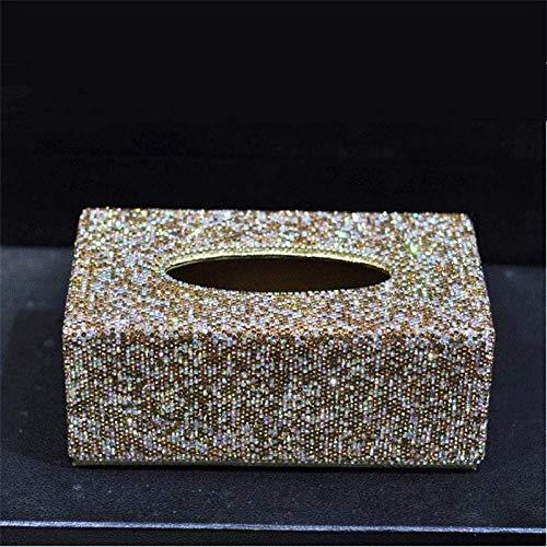 YAeele Tejido caja de pañuelos de almacenamiento caja de dispensadores de papel higiénico Hermosa WC Home Office pañuelo de papel cubierta de la caja de Bling Bling de coches Caja de cristales con bri