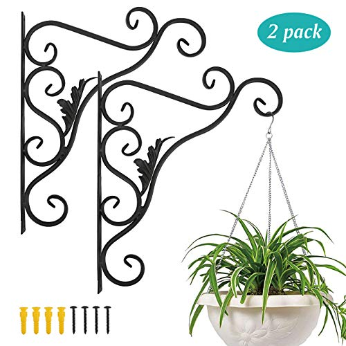 Lewondr Wall Hanging Plants Bracket, [2 Pack] 14 Inch Retro Outdoor Indoor Garden Hook Décor Iron Decorative Plant Brackets with Screws for Bird Feeder Wind Chime Lantern, Leaf - Spray Paint Black