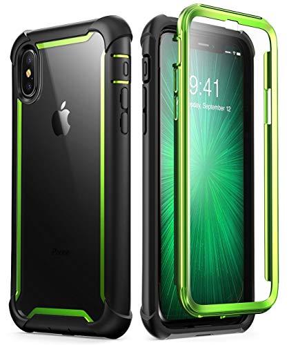 i-Blason Funda iPhone X [Ares] Transparente Case 360 Grados Carcasa con Protector de Pantalla para Apple iPhone X iPhone XS (Verde)