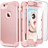 iPhone 6S Case, iPhone 6 Case with Tempered Glass Screen Protector, IDweel 3 in 1 Heavy Duty Rugged Shockproof Hybrid Hard PC Covers Soft Silicone Full Body Protective Case for Women Girls, Rose Gold