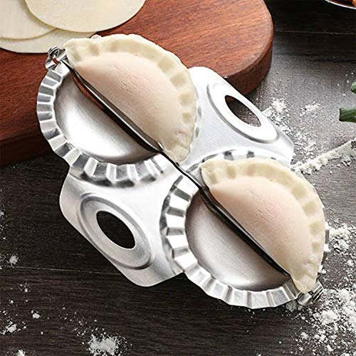 DOUBLX Dumpling Maker Set 2 Pieces Wonton Wrappers Fast Dumpling Press Mold with Wrapper Cutter, Stainless Steel Mould Ravioli Cutter Empanada Press Set For Pierogi Dough Gyoza, 3.35 in/ 8.5cm