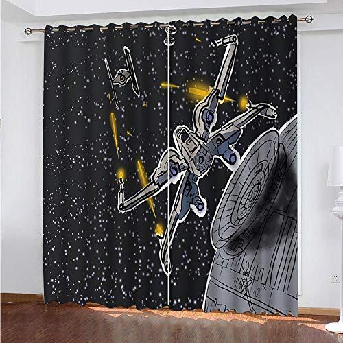 FGBEKNB Bedruckte Vorhänge Moderne Blickdicht Gardine mit Ösen 220x215 cm, Polyester Verdunkelungsvorhang Indoor...
