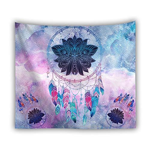 Wandteppich Psychedelic Mandala Wandteppich Traumfänger Feder Muster Hausdekor Boho Deko Tuch Wandtuch Wandbehang Blau Rosa Ombre Gedruckt 230X150cm