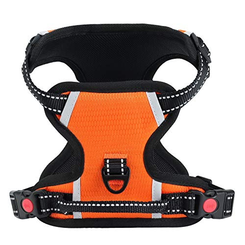 IAMUQ Dog Harness, No Pull Dog Harness Adjustable Reflective Puppy Harness, Dog Vest Harness Breathable Soft Padded Dog Harnesses for Small Medium Large Dogs for Walking (Orange, S)