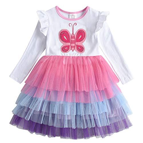 VIKITA Vestido Patrón de Mariposa Unicornio Algodón Tulle Tutu Manga Corta Niñas LH4556 3T
