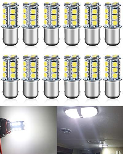 12-Pack BA15D 1142 Blanc Lumineux LED Light 12V DC, 5050 18 SMD Voiture de Remplacement pour Intérieur RV Camper Feux de Clignotant Feu Arrière Feu de Freinage