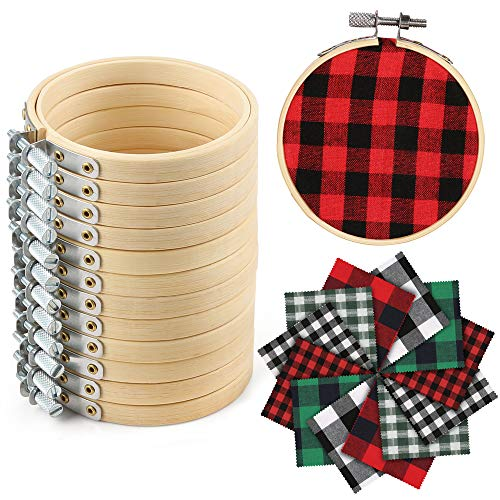 Caydo 12 Pieces Christmas Ornament Kit Including 3 Inch Embroidery Hoops and 5 Inch Squares Plaid Fabric for Christmas Decoration