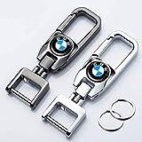 Hey Keyla 2PCS Llavero con Logo de Coche Llavero de Metal portátil de Acero Inoxidable Giratorio de 306 ° para Hombres y Mujeres, un Clic para Abrir, B-MW