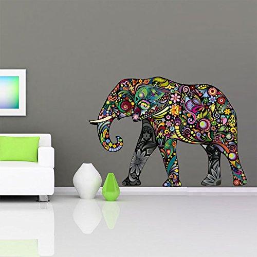 Moonwallstickers Disegno Floreale Elephant Decal Sticker Art Design–102x 147.4cm | 102,1x 147,3cm