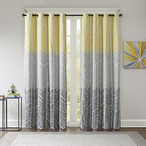Intelligent Design Adel Blackout Bedroom, Casual Window Livingroom, Family, Geometric Grommet Room Darkening Black Out Curtain, Single Panel Only, 50x84, Yellow