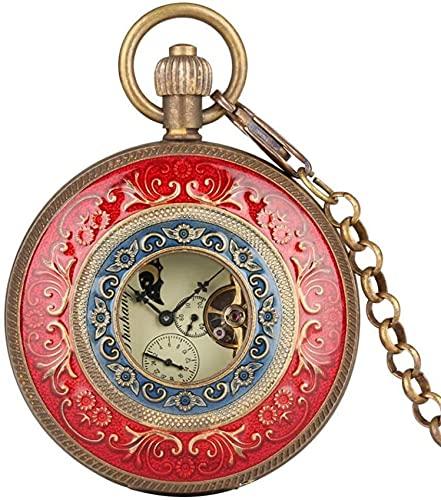 EURYTKS Reloj de Bolsillo Rojo Tallado a Mano Viento Reloj de Bolsillo Cadena Doble Cara Abierta Tourbillon Relojes de Viento automático Hombres Reloj Masculino Regalos
