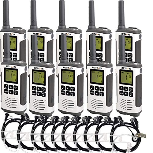 Retevis RT45 Two Way Radio Rechargeable FRS Dual Watch Flashlight 10 Call Tone Private Code Roger Beep 2 Way Radio Walkie Talkie with Headset(10 Pack)