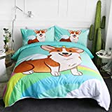 ARIGHTEX Cartoon Animal Bedding Duvet Cover Sets Unicorn Corgi Dog with Horn and Wings Bed Set 3 Piece Kids Girls Boys Cute Puppy Comforter Cover ,Rainbow (Twin)