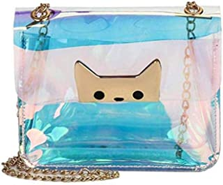 Women Girls Cute Cat Transparent Shoulder Bag Crossbody Metal Chain Strap Handbag