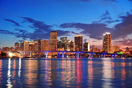 Bilderdepot24 Fototapete selbstklebend | Miami - Skyline - 150x100 cm | Wandposter Tapete Motivtapete - Florida Miami Beach USA