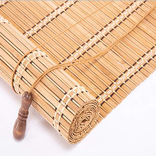 Brown Bamboo Roman Wooden Roll Up Blinds Light Filtering Shades Privacy Drape Radiance Cord Free, Roll-up Reed Shade, Natural Home Fashions Bamboo Wood Curtain Panel