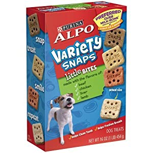 Purina ALPO Variety Snaps Little Bites Dog Treats/Snacks/Biscuits with Beef, Chicken, Liver & Lamb Flavors 16 oz. Box, Pack of 2 (2 – 16 oz Boxes)