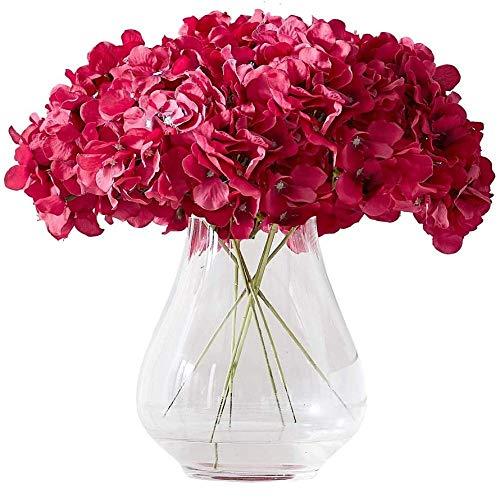yueyue947 / Hortensia Cabezas de Flores de Seda con 10 Tallos Borgoña Hortensia Artificial Cabeza de Flor para centros de Mesa de Boda Ramos DIY Decoración Floral Decoración del hogar Fucsia