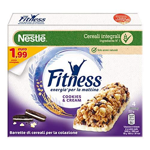FITNESS COOKIES&CREAM Barretta di Cereali Integrali con Biscotti al Cacao e Cioccolato 4 Pezzi