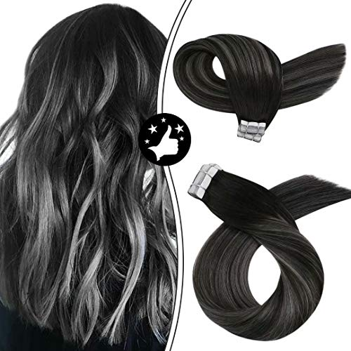 Moresoo 18 Inch Tape on Remy Human Hair Extensions Balayage Color Off Black to Gray Silver and Black Seamless Skin Weft Tape in Human Hair Extensions Glue on Hair 20pcs/50g