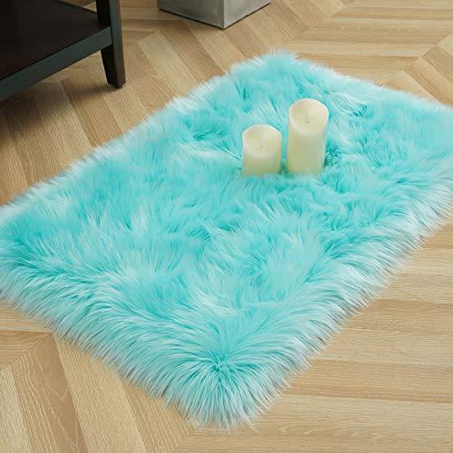 LOCHAS Ultra Soft Fluffy Rugs Faux Fur Sheepskin Area Rug for Bedroom Bedside Living Room Carpet Nursery Washable Floor Mat, 2x3 Feet Light Blue