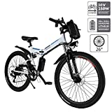 Aceshin 26'' Electric Bicycle with Removable Large Capacity Lithium-Ion Battery (36V 250W), Electric Bike 21 Speed Gear and Three Working Modes (White, 26 inch)