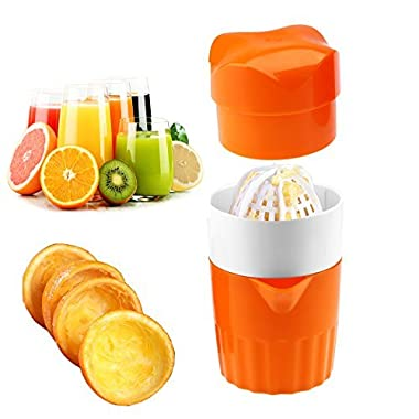 Benwish Hand Juicer Citrus Orange Squeezer Manual Lid Rotation Press Reamer for Lemon Lime Grapefruit with Strainer and Container, 2cups