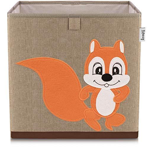 Lifeney Kinder Aufbewahrungsbox I praktische Aufbewahrungsbox für jedes Kinderzimmer I Kinder Spielkiste I Niedliche Spielzeugbox I Korb zur Aufbewahrung von Kinder Spielsachen (Eichhörnchen dunkell)