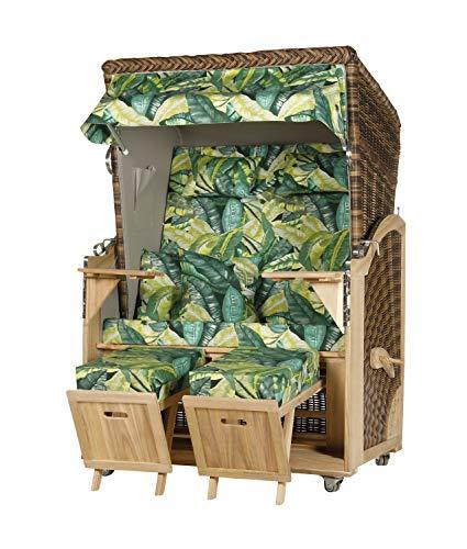 WODEGA Akazienholz Strandkorb 2 - Sitzer Grün Jungledesign Geflecht Croco, 2 Schwenktische inkl. Rollen fertig montiert Strandstuhl