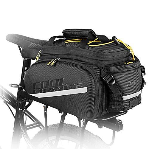 SYCHONG Rack-Bike Bag Trunk Bag wasserdichte Carbon-Leder-Fahrrad-Rücksitz-Cargo-Bag Rear-Pack Trunk Pannier Handbag,Schwarz
