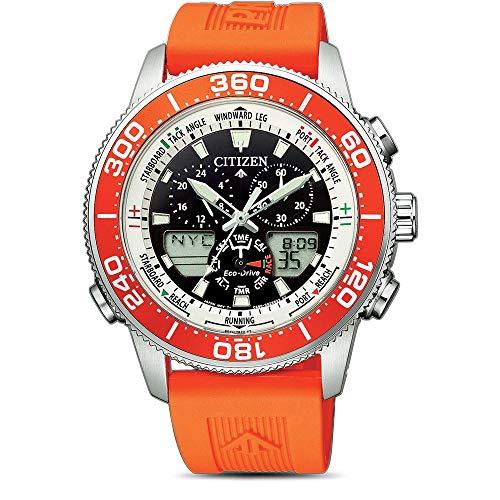 CITIZEN Herren Analog-Digital Eco-Drive Uhr mit Gummiband (Urethan) Armband JR4061-18E