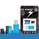 ELEL NINO Tarjeta de memoria micro SDXC de 128 GB y lector de tarjetas TF para tabletas, cámara, GPS GoPro, tacógrafo (128 GB)