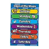 sharprepublic Póster Colorido Educativo de Preescolar para niños pequeños y niños, Cartel de la Tabla de números de los días del Alfabeto para guardería en casa - Semana