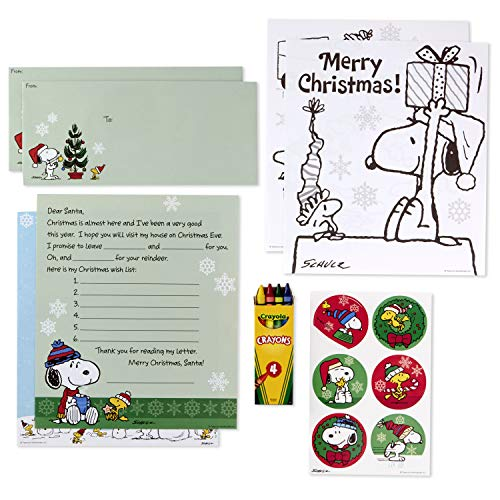 Hallmark Christmas Peanuts Letters to Santa Kit with Stickers, Coloring Pages, Envelopes & Crayons