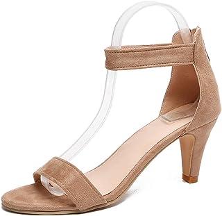 3ba67924 Sandalias Mujer de Tacón Medio Verano Zapatos con Correa en El Tobillo  Hebilla Zapatillas de Vestir