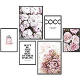 Heimlich® Premium Poster Set | Stilvolles Set mit passenden Bilder als Wohnzimmer Deko | 2 x DIN A3 & 4 x DIN A4 - ca. 30x40 & 20x30 | Bilderrahmen Holz Schwarz » Coco «
