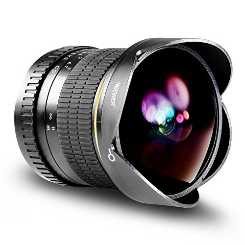 Neewer Pro 8mm f/3.5 Aspherical HD Fisheye Lente para Nikon D5,D4s,D4,D3x,Df,D850,D810,D750,D610,D500,D7500,D7200,D7100,D5600,D5500,D5300,D5200,D3400,D3300 Cámaras Digital DSLR