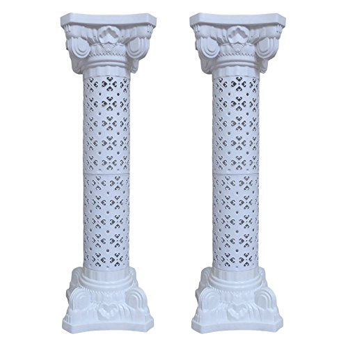 Wedding Decoration Plastic Roman Column Height Adjustable Garden Decor Ceremony Reception Decorative Columns (2 Column Set)