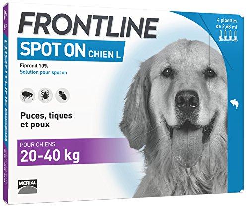 FRONTLINE Spot-on Chien - Anti-puces et anti-tiques pour chien - 20-40kg - 4 pipettes