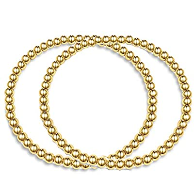 Hapuxt Gold Bead Ball Bracelet for Women |Stackable Stretch Beaded Bracelet (4mm+4mm)