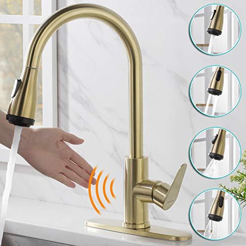 Rainovo Touchless Kitchen Faucet with 4 Modes Pull Down Sprayer Automatic Motion Sensor, Commercial Kitchen Sink Faucet Single Handle High Arc Stainless Steel with 3 Hole Deck Plate, Brushed Gold