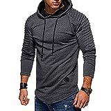 Mens Casual Long Sleeve Hoodies Pullover Hooded Sweatshirt Plain Raglan Hoody Regular Fit Jumper Patchwork Hooded Tops with Pockets Grey L