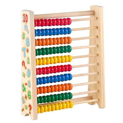 Symiu Abaco in Legno Calcolatrice Gioco di Montessori Matematica Giocattolo per Bambini 3 4 5 6 Anni con Colore e Numero