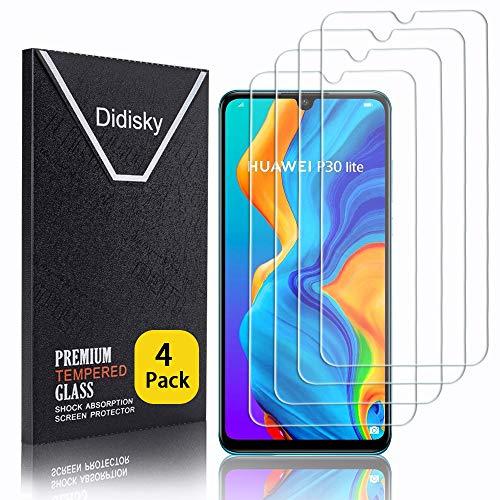 Didisky Pellicola Protettiva in Vetro Temperato per Huawei P30 Lite / P30 Lite New Edition, [4 Pezzi] Protezione Schermo [Tocco Morbido ] Facile da Pulire, Facile da installare, Trasparente
