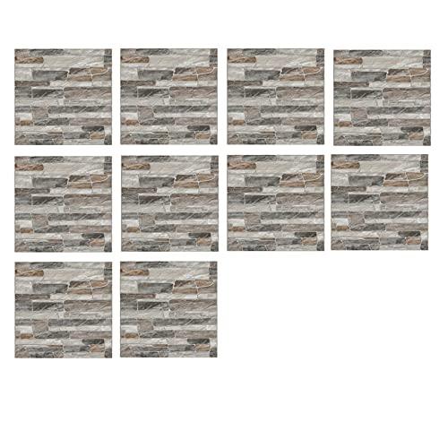 Adhesivos 3D para azulejos retro con vetas de madera, azulejos de pared de PVC, autoadhesivos, adhesivos para cocina y baño, 10 x 10 cm (10 unidades)