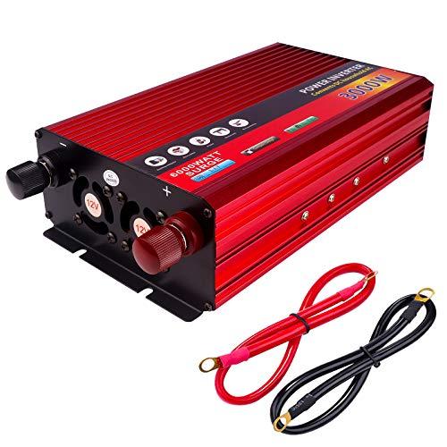 Lacyie Spannungswandler 12V 230V 2000W 3000W(Max), Auto Wechselrichter DC 12V auf AC 230V Reiner Sinus KFZ Inverter mit 1 EU Buchse AC und 1 USB Port 2.1A für Zigarettenanzünder Steckdose