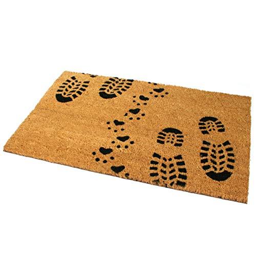 Black Ginger Fußmatte aus Kokosfaser, groß, dick, dekorativ, Gemustert, mit Naturmotiven Boot & Paw