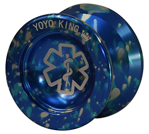 Yoyo King Dr. Smalls 3/4 Sized Metal Yoyo with Narrow Responsive and Wide Nonresponsive C Bearing and Extra Yoyo String (Blue)