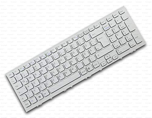 X-Comp Tastiera DE bianca con cornice per Sony Vaio VPC-EH VPCEH VPC-EH15 VPC-EH22 Serie
