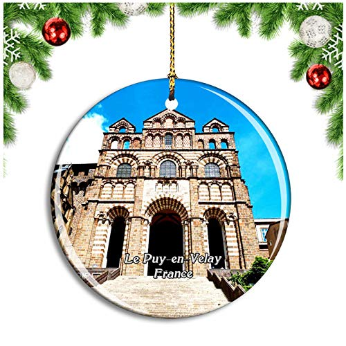 Weekino Le Puy-en-Velay France Cathedrale Notre-Dame Christmas Ornament Xmas Tree Decoration Hanging Pendant Travel Souvenir Collection Double Sided Porcelain 2.85 Inch